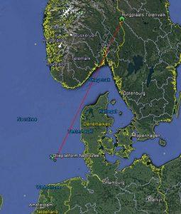 Ringplaats (in nest) en vindplaats (op olieplatform) Torenvalk met Noorse pootring